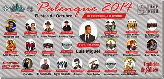 Palenque Fiestas octubre 2014 todas las fechas programadas
