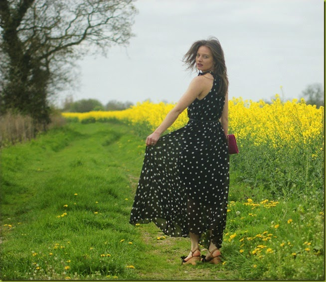 polka dot maxi dress skirt