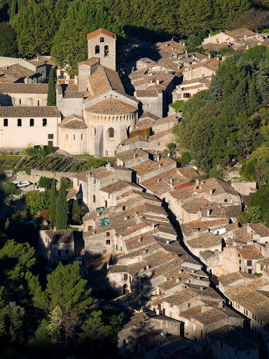 The commune of Saint-Guilhem-le-Désert is one of the most beautiful villages in France. It's in the Languedoc-Roussillon region along the Mediterranean.