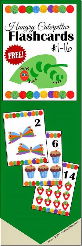 hungry caterpillar number flashcards for kids toddler-preschool-kindergarten