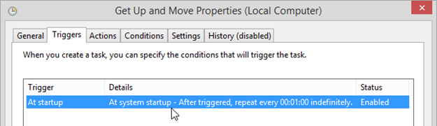 Figure 6 - Task Scheduler Task's Trigger At Startup and repeat indefinitely every 1 minute