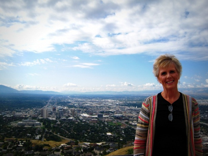 Mom and the view from Ensign Peak in SLC