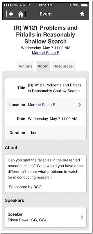 NGS会议应用程序 - 会话页面