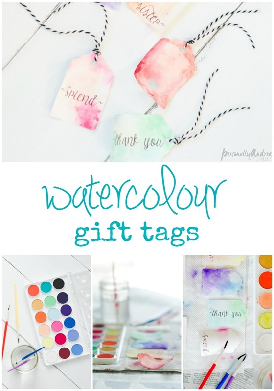 Watercolour Gift Tags | Watercolor Gift Tags out of plain cardstock, with printed greetings and a simple watercolor wash | personallyandrea.com