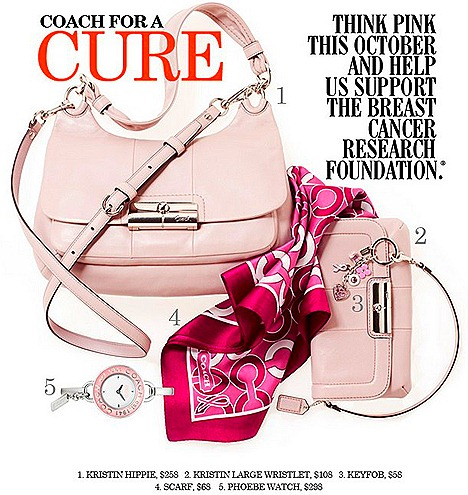 Coach supports breast cancer research foundation awareness month Think Pink Collection