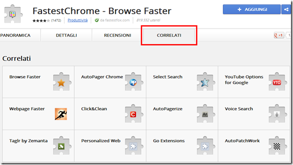 Estensioni CORRELATI Google Chrome