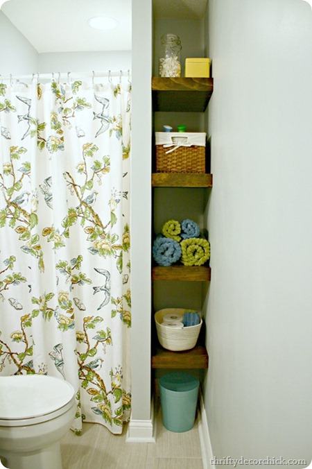 bathroom storage wood shelves @ thriftydecorchick.com