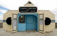 The Camera Obscura at the San Francisco Cliff House reflects the scene from Seal Rock Beach down into the darkened interior