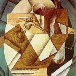 Juan Gris (1914): La mesa. Collage. Museo de Arte de Filadelfia. Filadelfia. USA.