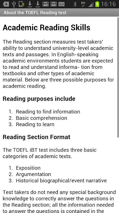 Exam English: TOEFL® Reading- screenshot