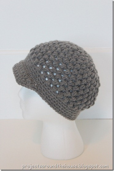Crochet Puff Stitch Newsboy Beanie with Brim Free Pattern