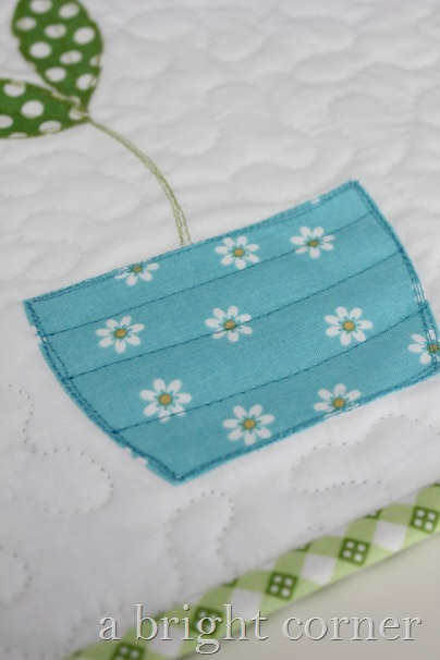 vase applique on Sprouts table runner from A Bright Corner