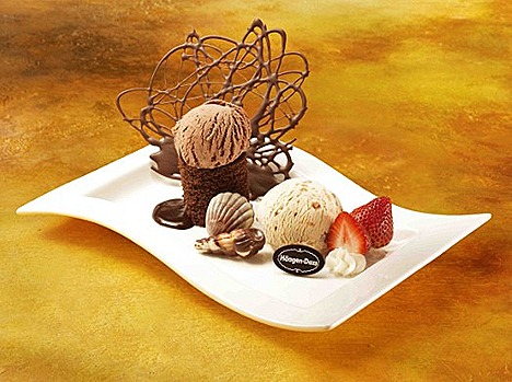 HAAGEN-DAZS LOVE IN PARADISE  ($16  ) - Velvety Dark Chocolate cakes Belgian Chocolate and Crème Brulée ice  cream with chocolate seashells strawberries