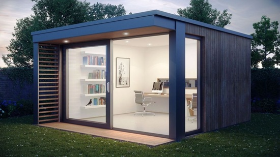 This ultra-stylish garden office pod was designed by award-winning UK-based  company Pod Space, a leading manufacturer of top quality prefabricated eco  ...
