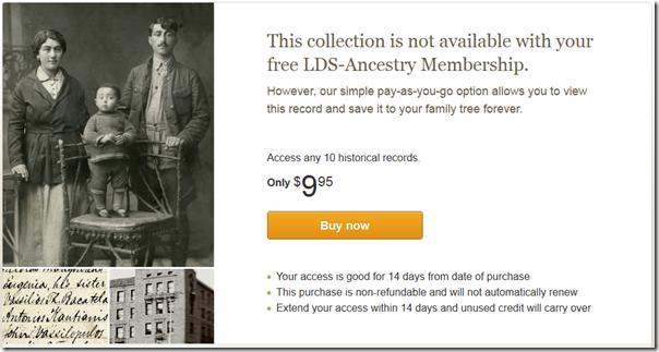 消息:您的免费LDS-Ancestry会员不提供此集合。