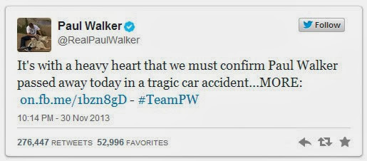 Noticia Twitter Paul Walker murió