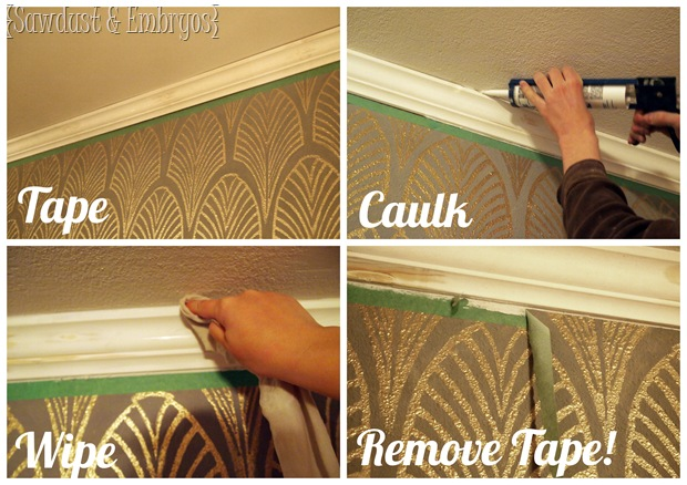 Caulking Crown Molding {Sawdust and Embryos}