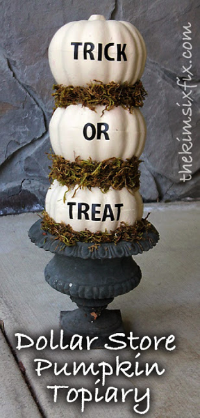 Easy Dollar Store Pumpkin Topiary.. paint them, put them on a skewer and add stick on letters