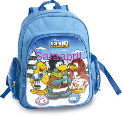Club Penguin Blue Backpack 43x32x18 cm with coin :)