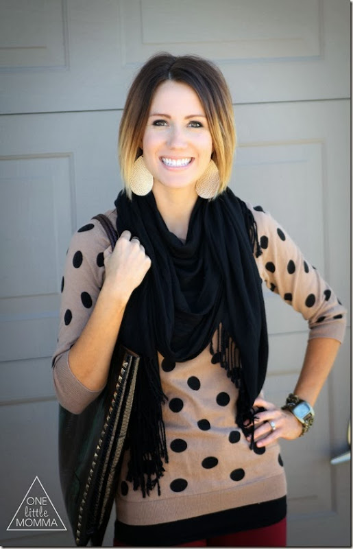 Black scarf, polka dots
