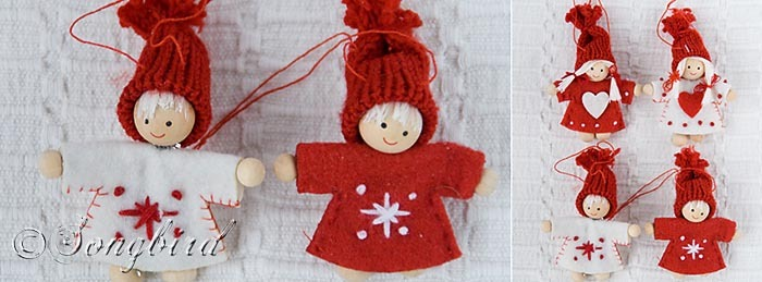 Red Christmas Puppets Ornaments 3