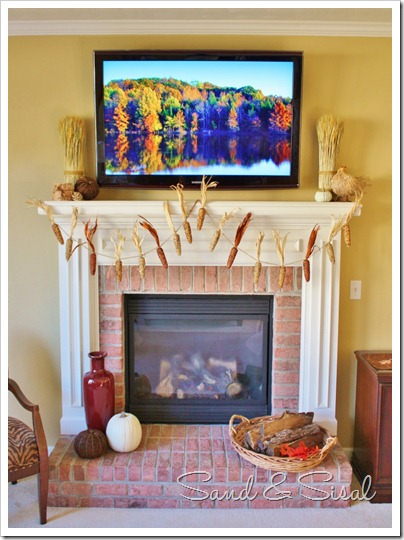 Thanksgiving Mantel with TV