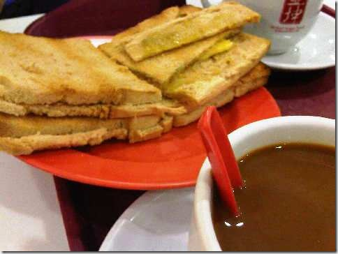 Kaya toast with coffee at Ya Kun