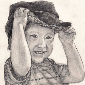 Do You Like My Hat? by Lew Davis - Drawing All Drawing ( lace, person, male, children, youth, pencil drawings, lew davis, people, drawing, kid, hat, young boy, child, drawings, peruvian, peruvian child, lace hat, pencil drawing, smile, boy,  )