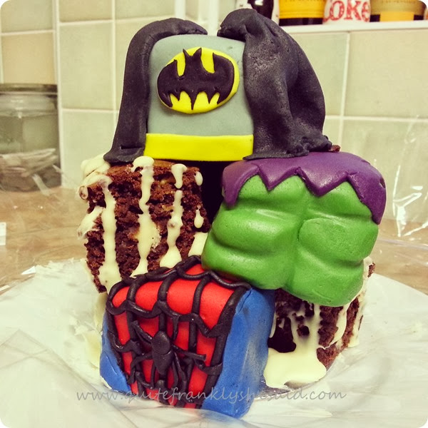 marvel heroes birthday cake batman spiderman incredible hulk