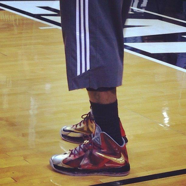 online store f4b02 cb820 ... King James Wears his Nike LeBron X Iron Man Customs by Mache ...