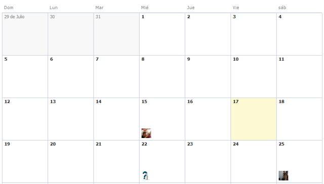 calendario de Facebook