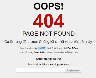 Tạo trang báo lỗi 404 cho Blogspot