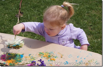 Toddler flower painting art project