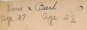 Vene age 37 Carl maybe 2 years six months.  Date of photo 1889 back
