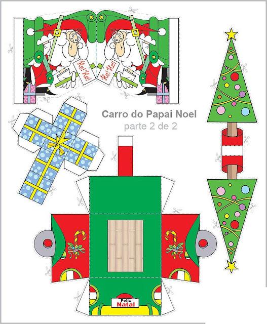 Carro Do Papai Noel Para Recortar E Montar Colorir E Aprender