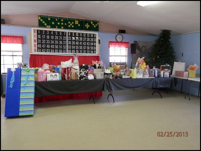 The donated gifts to be auctioned off for Charity
