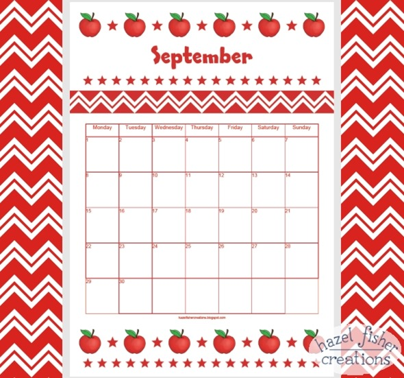 September 2014 free printable calendar red apple hazel fisher creations