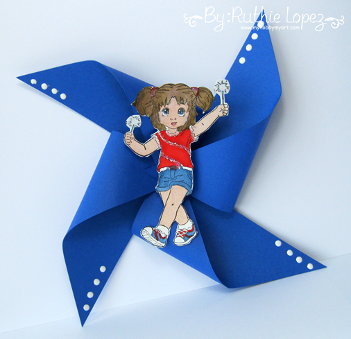 Happy 4th of July -Pinwheel - Inky Impressions - Ruthie Lopez
