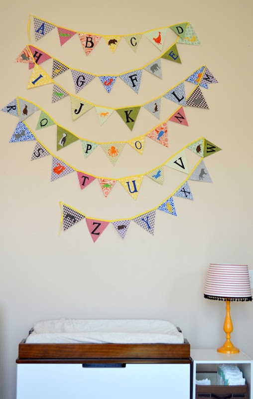 yay! the bunting is installed in Janis's nursery