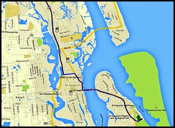 00a - Map to Anastasia State Park via Rt 1 through Old Town St. Augustine
