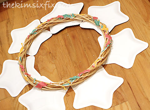 Gluing plates on wreath
