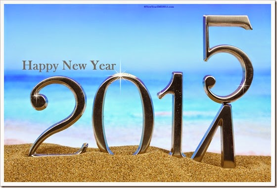 New year 2015 is coming on the beach