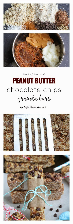 {healthy}{no-bake} Peanut Butter Chocolate Chips Granola Bars by @LifeMadeSweeter.jpg