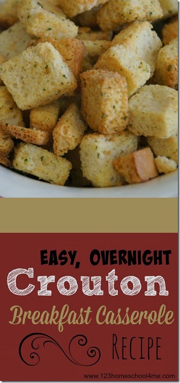 Easy Crouton Breakfast Casserole Recipe - This is such a simple, easy to throw together breakfast casserole perfect for Christmas morning or to make ahead for company.