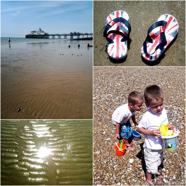 beach collage of flip flops and pier