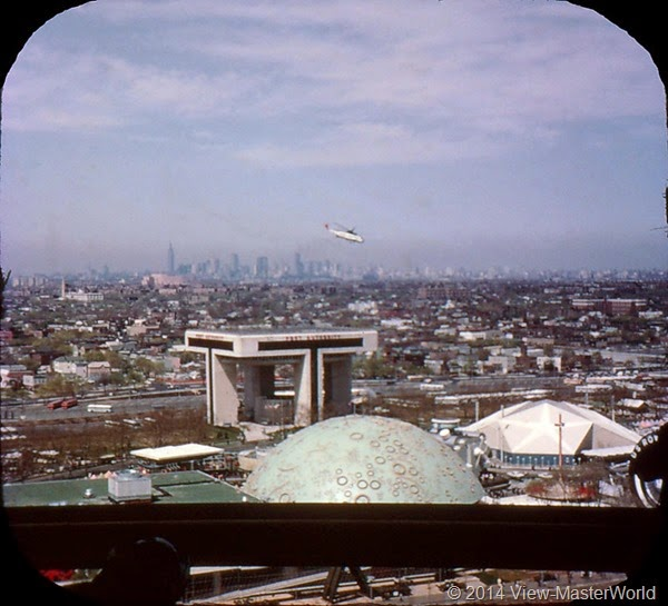 View-Master New York World's Fair 1964-1965 (A671),Scene 19 New York City Skyline, Heliport and Transportation Area