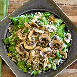 Mushroom, Quinoa & Arugula Salad with Champagne Chive Vinaigrette.