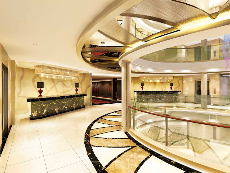 The atrium lobby of the luxury river cruise ships Century Legend and Century Paragon, which sail the rivers of China for Uniworld and Avalon.