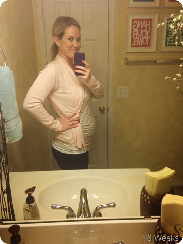 18 weeks. Total weight gain/loss? 0 pounds total (1 pound loss this week) –  no idea how I haven't gained with that bump protruding from my  mid-section???