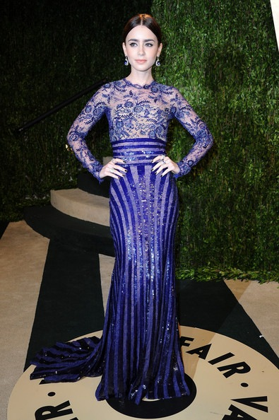 Lily Collins arrives at the 2013 Vanity Fair Oscar Party
